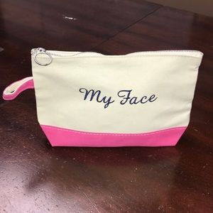 Handbags - Embroidered pink cloth pouch make up bag. New